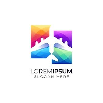 Concept de conception de logo d'avion espace négatif coloré