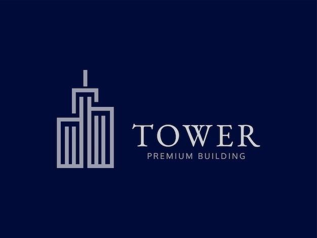 Concept de conception de logo de bâtiment premium de tour