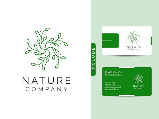 Le concept de conception de logo de beauté de la nature comprend une carte de visite moderne