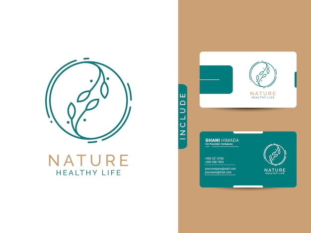 Concept de conception de logo en bonne santé de la nature