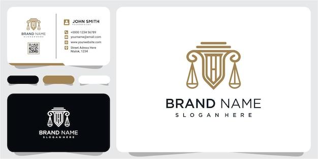 Concept de conception de logo de cabinet d'avocats moderne. la firme logo pour votre entreprise avec carte de visite