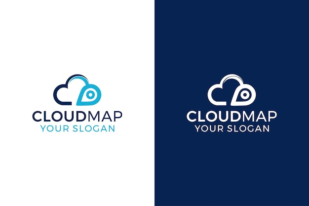 Concept de conception de logo de carte nuage