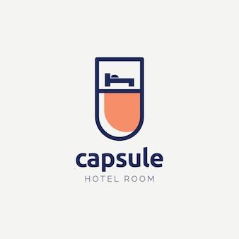 Concept de conception de logo de chambre d'hôtel capsule