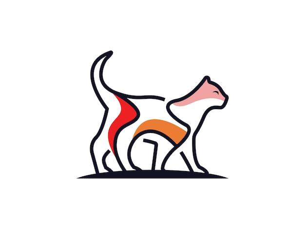 Concept de conception de logo chat mono ligne