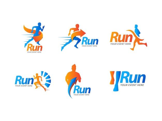 Concept de conception de logo de course sportive