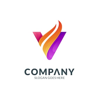 Concept de conception de logo créatif lettre v et feu