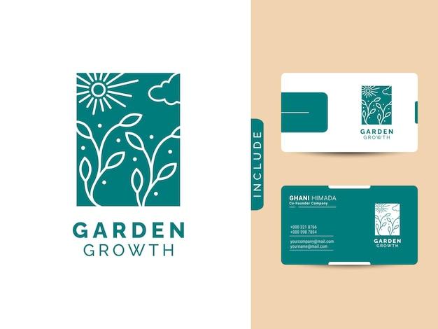 Concept de conception de logo de croissance de jardin