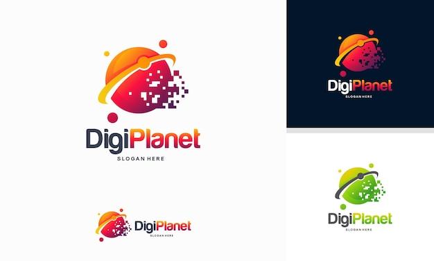 Concept de conception de logo digital planet, logo pixel planet, modèle de logo pixel ball