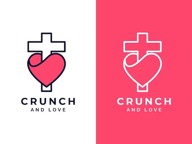 Concept de conception de logo d'église et d'amour