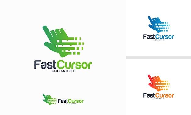 Concept de conception de logo fast cursor, modèle de logo pixel cursor