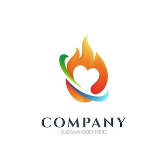 Concept de conception de logo de feu d'amour