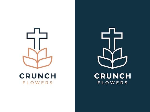 Concept de conception de logo de fleur d'église