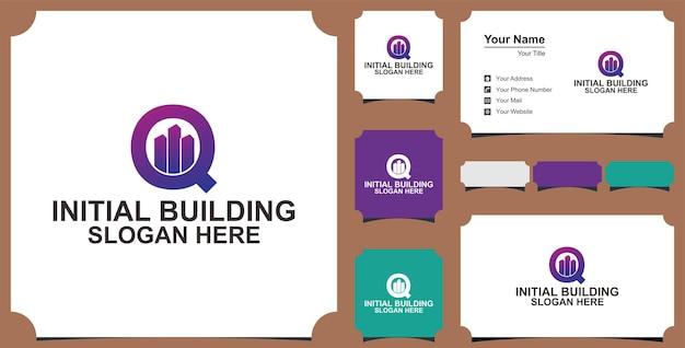 Concept de conception de logo de lettre de bâtiment de g