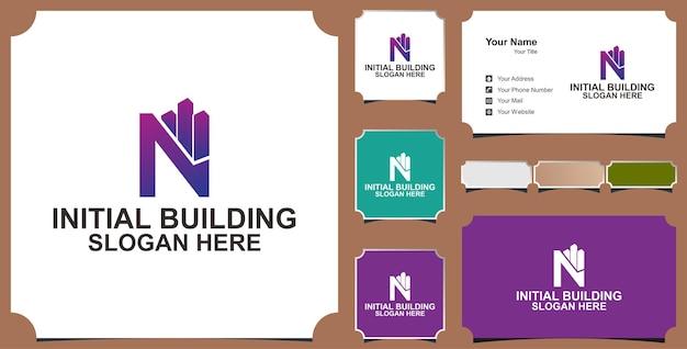Concept de conception de logo de lettre de bâtiment n