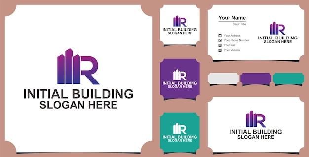 Concept de conception de logo de lettre de bâtiment r