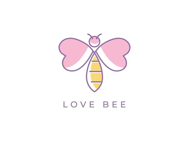 Concept de conception de logo de ligne mono d'abeille d'amour
