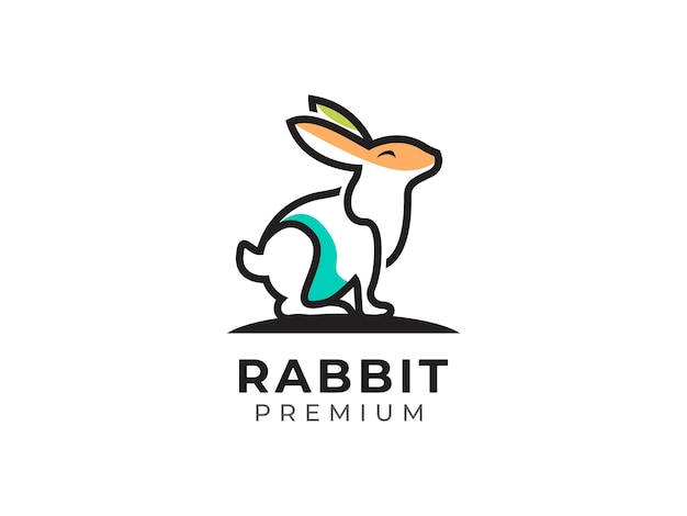 Concept de conception de logo de ligne mono lapin