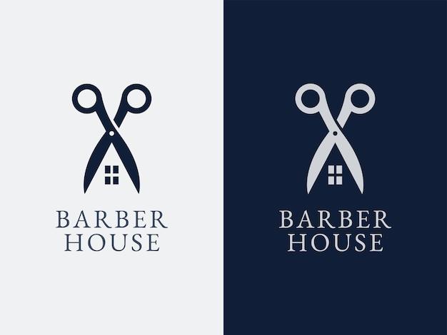 Concept de conception de logo de maison de coiffeur