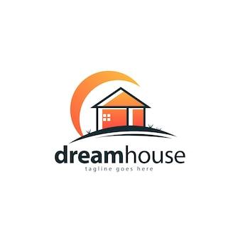 Concept De Conception De Logo De Maison De Rêve Vecteur Premium