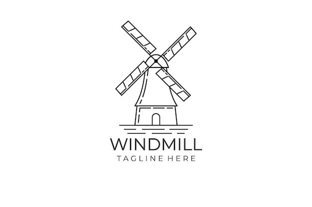 Concept de conception de logo de moulin à vent. illustration de moulin à vent dans le style de ligne