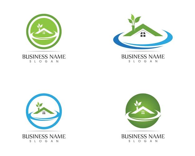 Concept de conception de logo nature maison de construction