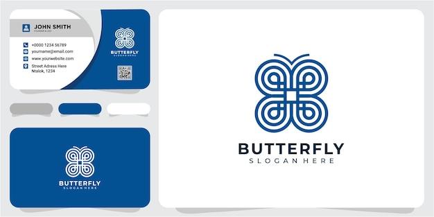 Concept de conception de logo de papillon de ligne. modèle de conception de logo papillon abstrait avec carte de visite