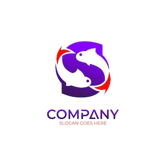 Concept de conception de logo de pêche