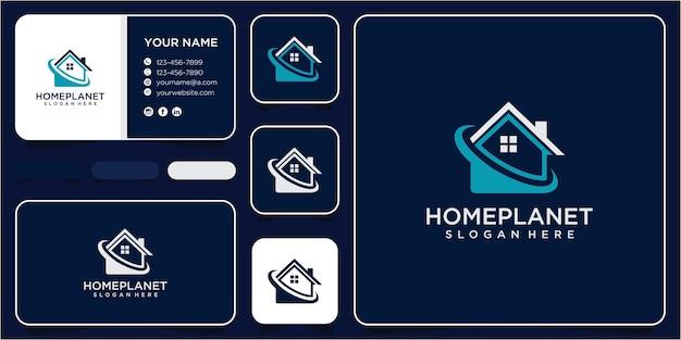 Concept de conception de logo de planète maison. modèle de conception de logo de maison