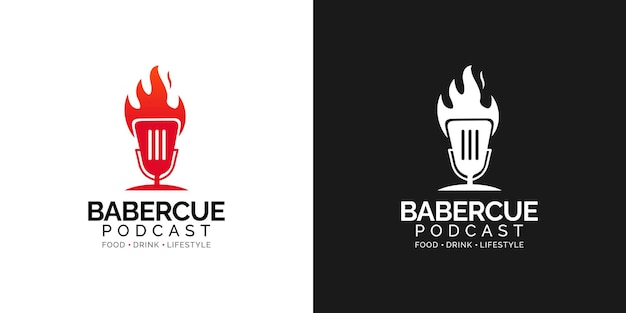 Concept de conception de logo de podcast barbecue