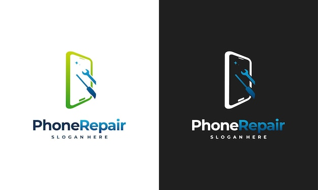Concept de conception de logo de service téléphonique, modèle de logo de réparation de téléphone