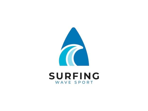 Concept de conception de logo de sport de vague de surf
