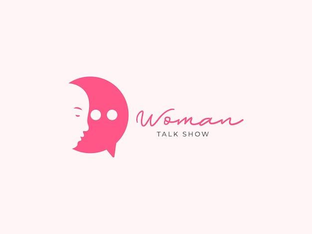 Concept de conception de logo de talk-show femme