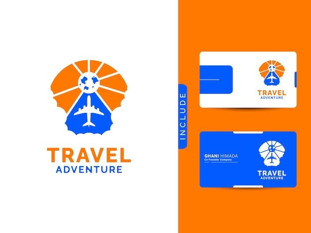 Concept de conception de logo de voyage