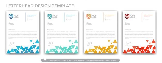 Concept de conception de papier à en-tête coloré triangle pour entreprises et professionnels