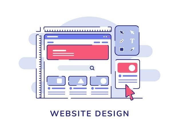 Concept de conception de site web filaire ui développer processus sur écran d'ordinateur avec style de contour plat