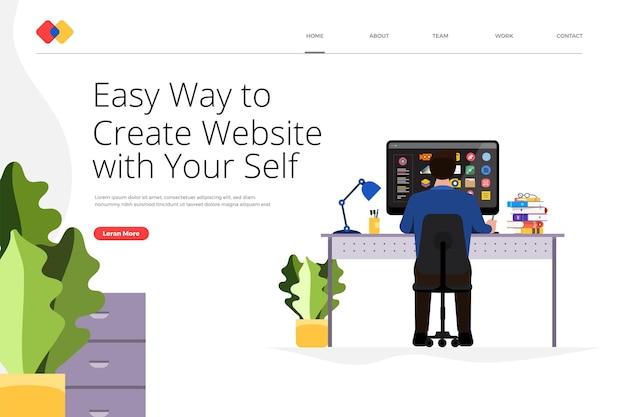 Le concept de conception de site web de page de destination créative crée votre site web de manière simple