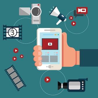 Concept de conception de vidéos en ligne avec médias de blogueurs