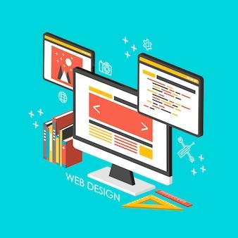 Concept de conception web infographie isométrique 3d avec des ordinateurs