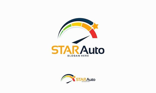 Concept de conceptions de logo automobile brillant, vecteur de modèle de logo automobile star