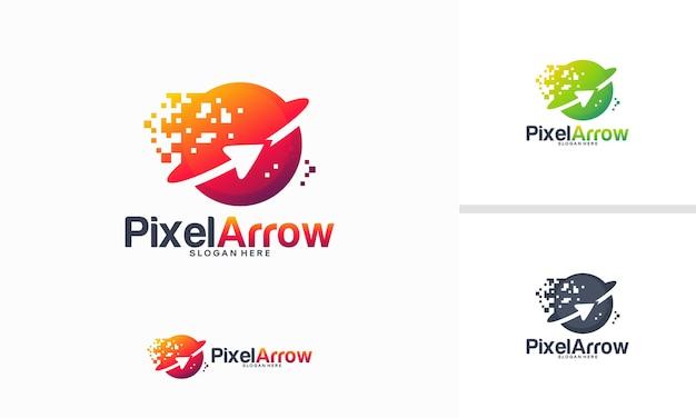 Concept de conceptions de logo de flèche de pixel, modèle de conceptions de logo de technologie de flèche