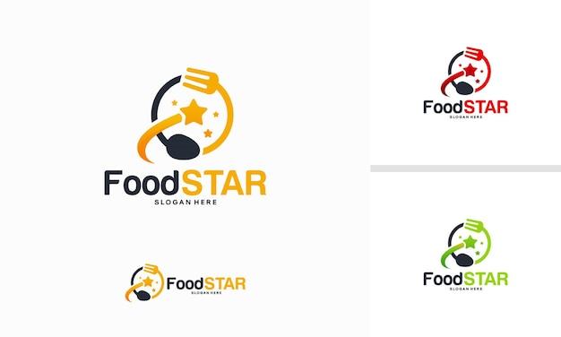 Concept de conceptions de logo food star, vecteur de modèle de logo elite restaurant