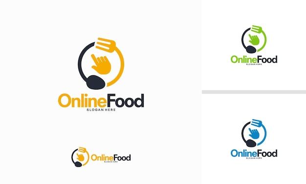 Concept de conceptions de logo de nourriture en ligne, vecteur de modèle de logo de curseur de nourriture