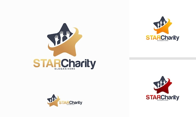 Concept de conceptions de logo star charity, vecteur de modèle de logo shine care