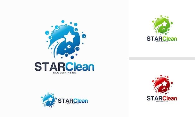 Concept de conceptions de logo star clean, vecteur de modèle de logo star laundry