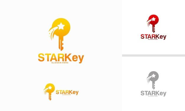 Concept de conceptions de logo star key, vecteur de modèle de logo bright key