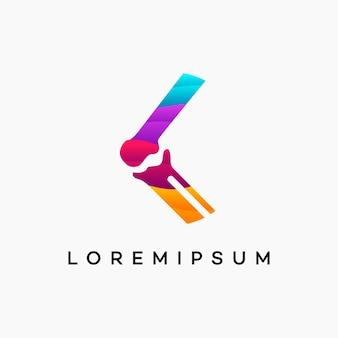 Concept de conceptions modernes de logo d'os de genou ondulé, modèle de logo de soins de genou, icône de symbole de logo d'os de santé