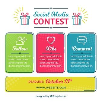 Concept de concours de médias sociaux