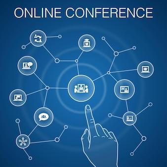 Concept de conférence en ligne, fond bleu. discussion de groupe, apprentissage en ligne, webinaire, icônes de conférence téléphonique