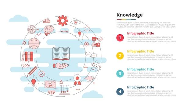 Concept de connaissances pour la bannière de modèle d'infographie avec des informations de liste à quatre points
