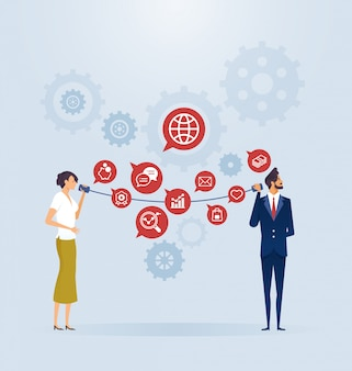 Concept de connexion de communication d'entreprise